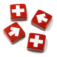 Fridge magnets with crosses and arrows, set of 4