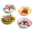 Button magnets with funny animal faces, set of 4