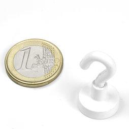 FTNW-16, Hook magnet white Ø 16,3 mm, powder-coated, thread M4