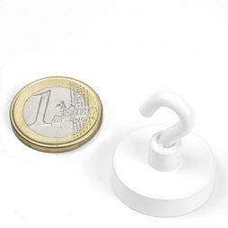 FTNW-25, Hook magnet white Ø 25,3 mm, powder-coated, thread M4