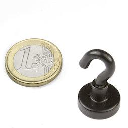 FTNB-16, Hook magnet black Ø 16,3 mm, powder-coated, thread M4