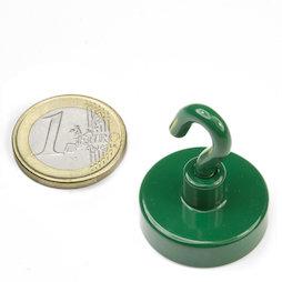 FTNG-25, Hook magnet green Ø 25,3 mm, powder-coated, thread M4