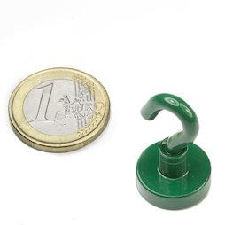 FTNG-16, Hook magnet green Ø 16,3 mm, powder-coated, thread M4