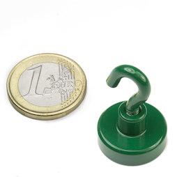 FTNG-20, Hook magnet green Ø 20,3 mm, powder-coated, thread M4