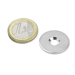 MD-23, Metal disc with counterbore Ø 23 mm, as a counterpart to magnets, not a magnet!