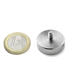 GTN-25, Pot magnet with threaded stem, Ø 25 mm, Thread M5, strength approx. 25 kg