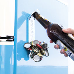 M-91, Magnetic bottle opener 'Captor', attaches to the fridge, with bottle cap collector on the front