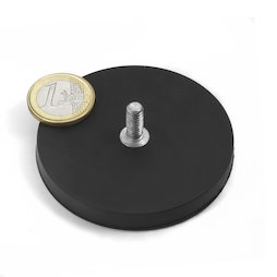 GTNG-66, rubber coated pot magnet with threaded peg, Ø 66 mm, thread M8