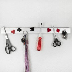 FO-2, Key rack magnetic 50 cm, magnetic strip, made of stainless steel, for 11 keys